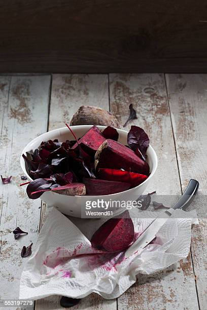 Colander of beetroots and leaves