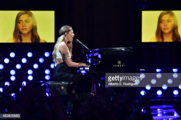 Colbie Caillat performs onstage at the 2014 Young Hollywood Awards brought to you by Samsung Galaxy at The Wiltern on July 27 2014 in Los Angeles...