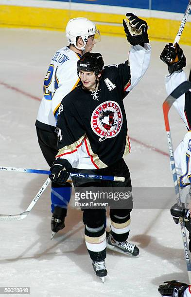 Colby Armstrong of the WilkesBarre/Scranton Penguins celebrates against the Bridgeport Sound Tigers at Bridgeport's Arena at Harbor Yard on October...