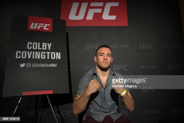 Colby Covington of the United States poses for a picture during the UFC Fight Night Ultimate Media Day at the Marina Bay Sands on June 15 2017 in...