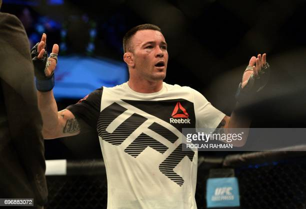 Colby Covington of the United States reacts to the crowd after winning against Dong Hyun Kim of South Korea in their UFC welterweight event at the...