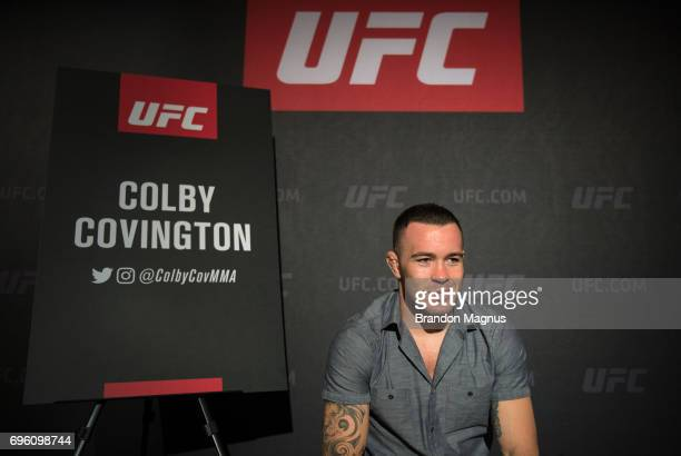 Colby Covington of the United States speaks to the media during the UFC Fight Night Ultimate Media Day at the Marina Bay Sands on June 15 2017 in...