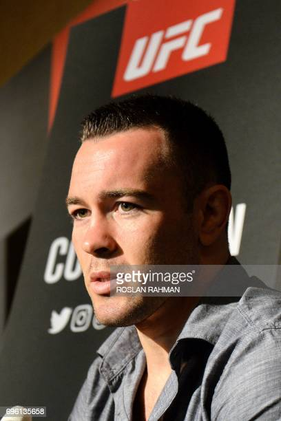 Colby Covington of the US speaks to reporters during the UFC Fight Night media event in Singapore on June 15 2017 / AFP PHOTO / Roslan RAHMAN