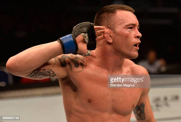 Colby Covington reacts after the conclusion of his welterweight bout against Dong Hyun Kim during the UFC Fight Night event at the Singapore Indoor...