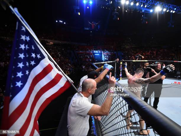 Colby Covington stands in his corner before facing Demian Maia of Brazil in their welterweight bout during the UFC Fight Night event inside the...