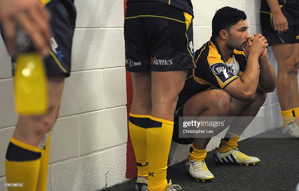 Colby Faingaa of Brumbies looks in deep thought as the Brumbies wait in the tunnel before kick off during the Cup Final match between ACT Brumbies and Auckland of the World Club 7's 2013 at Twickenham Stadium on August 18, 2013 in London, England.