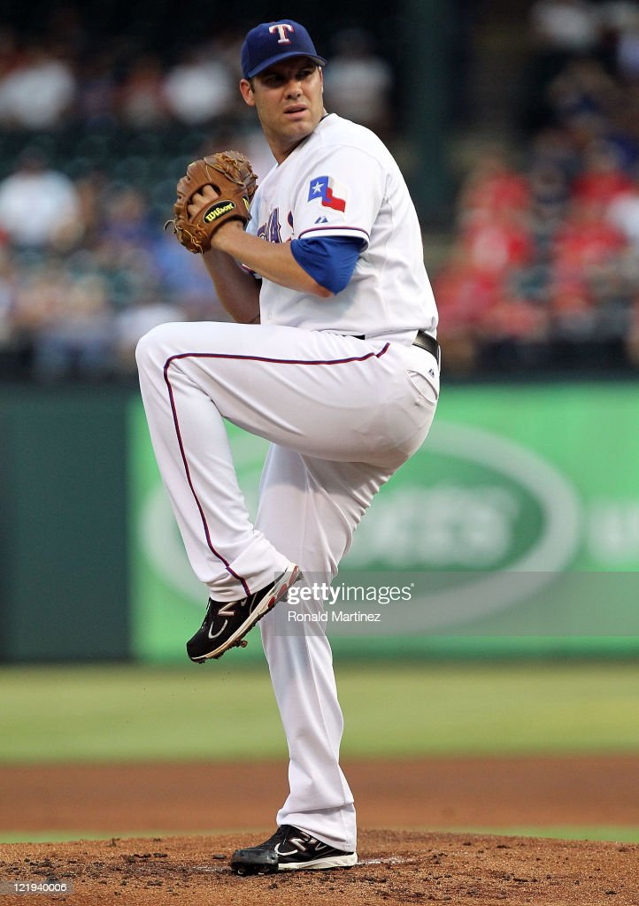 <a gi-track='captionPersonalityLinkClicked' href=/galleries/search?phrase=Colby+Lewis&family=editorial&specificpeople=834318 ng-click='$event.stopPropagation()'>Colby Lewis</a> #48 of the Texas Rangers throws against the Boston Red Sox at Rangers Ballpark in Arlington on August 23, 2011 in Arlington, Texas.