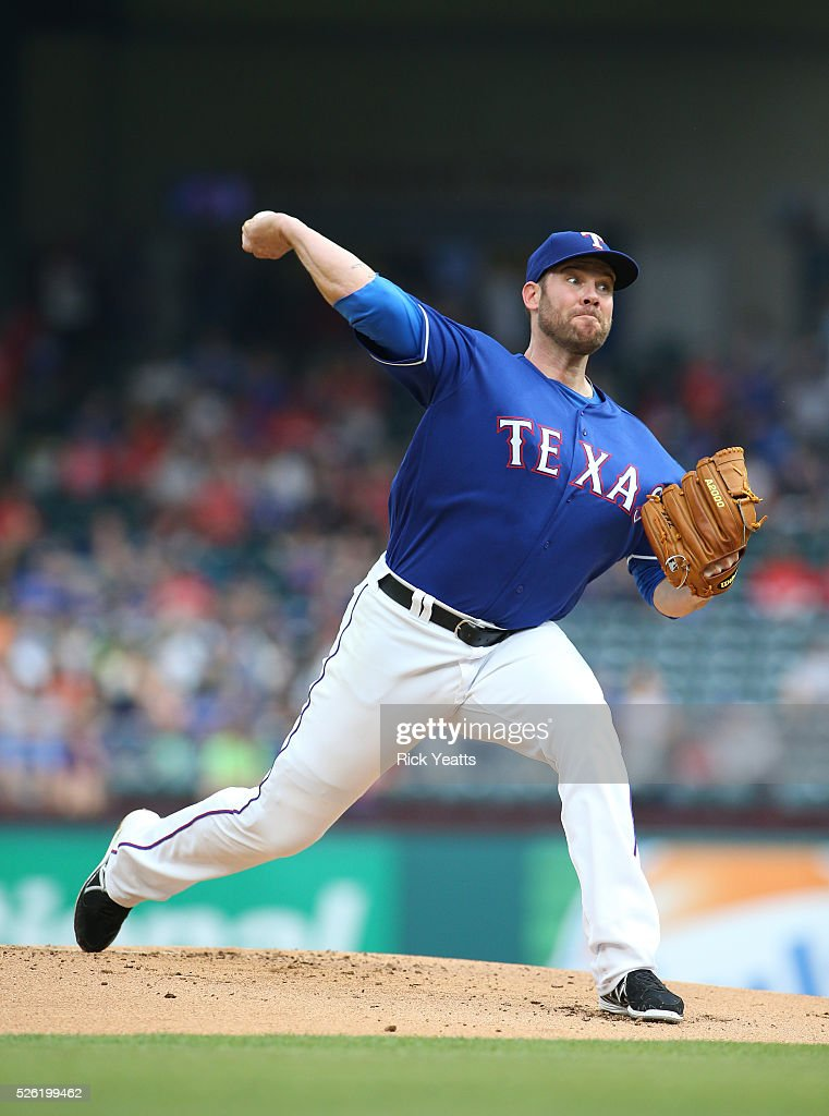 Colby Lewis #48 of the Texas Rangers throws in the first inning against Los Angeles Angels of Anaheim at Global Life Park in Arlington on April 29, 2015 in Arlington, Texas.