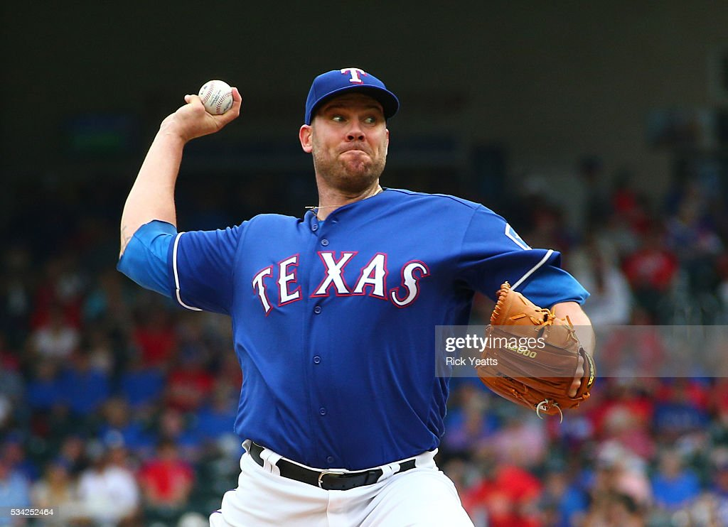 <a gi-track='captionPersonalityLinkClicked' href=/galleries/search?phrase=Colby+Lewis&family=editorial&specificpeople=834318 ng-click='$event.stopPropagation()'>Colby Lewis</a> #48 of the Texas Rangers throws in the first inning against the Los Angeles Angels of Anaheim at Global Life Park in Arlington on May 25, 2016 in Arlington, Texas.