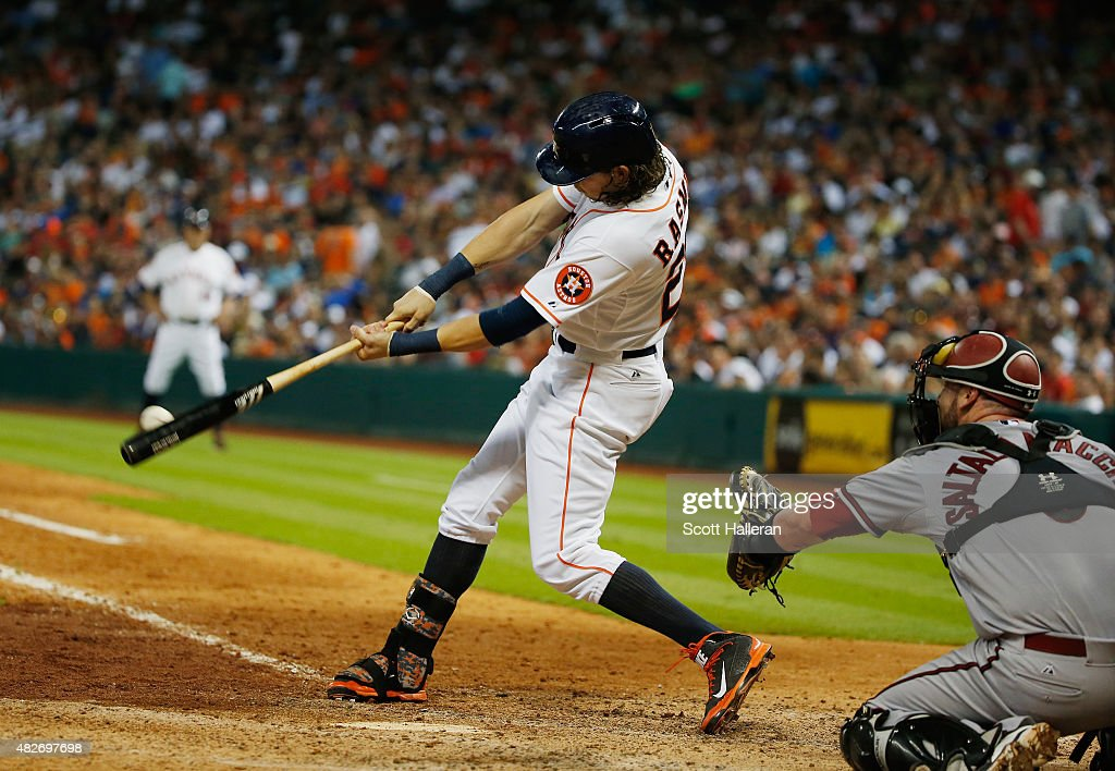 <a gi-track='captionPersonalityLinkClicked' href=/galleries/search?phrase=Colby+Rasmus&family=editorial&specificpeople=3988372 ng-click='$event.stopPropagation()'>Colby Rasmus</a> #28 of the Houston Astros hits a single in the seventh inning during their game against the Arizona Diamondbacks at Minute Maid Park on August 1, 2015 in Houston, Texas.