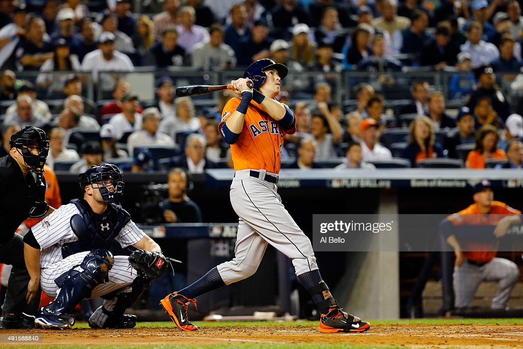 <a gi-track='captionPersonalityLinkClicked' href=/galleries/search?phrase=Colby+Rasmus&family=editorial&specificpeople=3988372 ng-click='$event.stopPropagation()'>Colby Rasmus</a> #28 of the Houston Astros hits a solo home run against Masahiro Tanaka #19 of the New York Yankees during the second inning in the American League Wild Card Game at Yankee Stadium on October 6, 2015 in New York City.