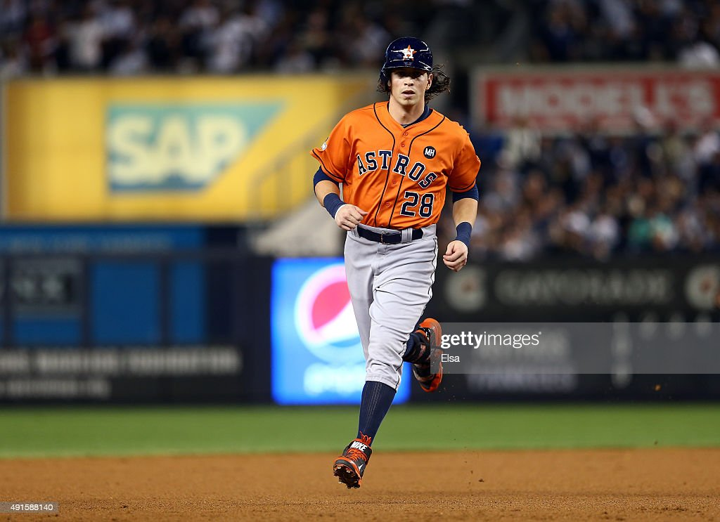 <a gi-track='captionPersonalityLinkClicked' href=/galleries/search?phrase=Colby+Rasmus&family=editorial&specificpeople=3988372 ng-click='$event.stopPropagation()'>Colby Rasmus</a> #28 of the Houston Astros rounds the bases after scoring a solo home run against Masahiro Tanaka #19 of the New York Yankees during the second inning in the American League Wild Card Game at Yankee Stadium on October 6, 2015 in New York City.