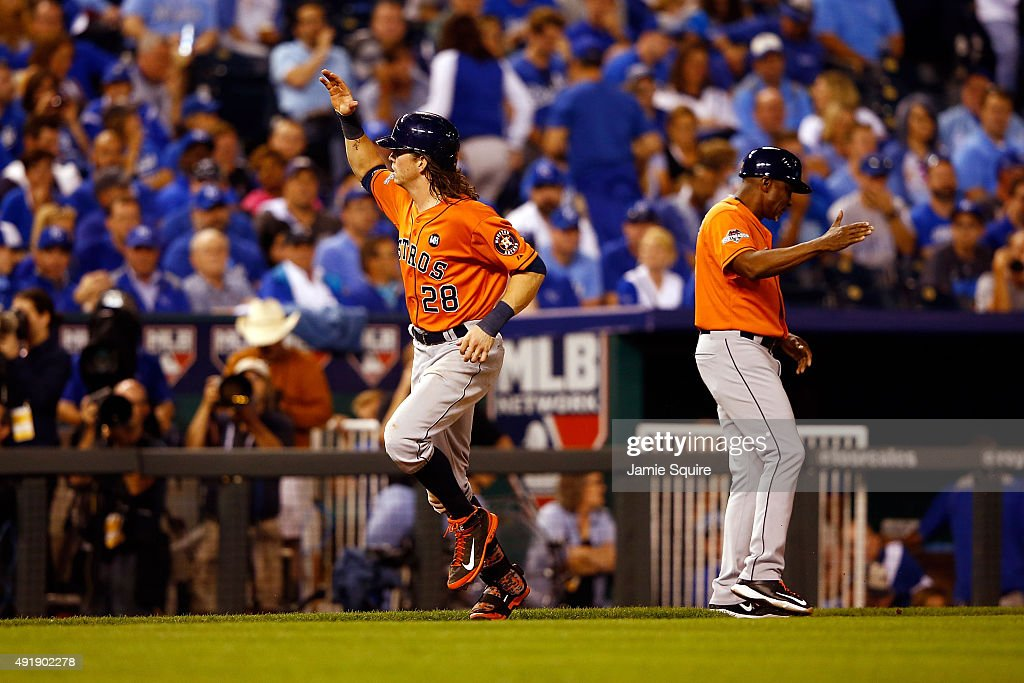 Colby Rasmus #28 of the Houston Astros runs the bases after hitting a solo home run in the eighth inning against the Kansas City Royals during game one of the American League Division Series at Kauffman Stadium on October 8, 2015 in Kansas City, Missouri.