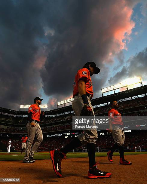 Colby Rasmus of the Houston Astros walks back to the dugout after the first inning against the Texas Rangers at Globe Life Park in Arlington on...