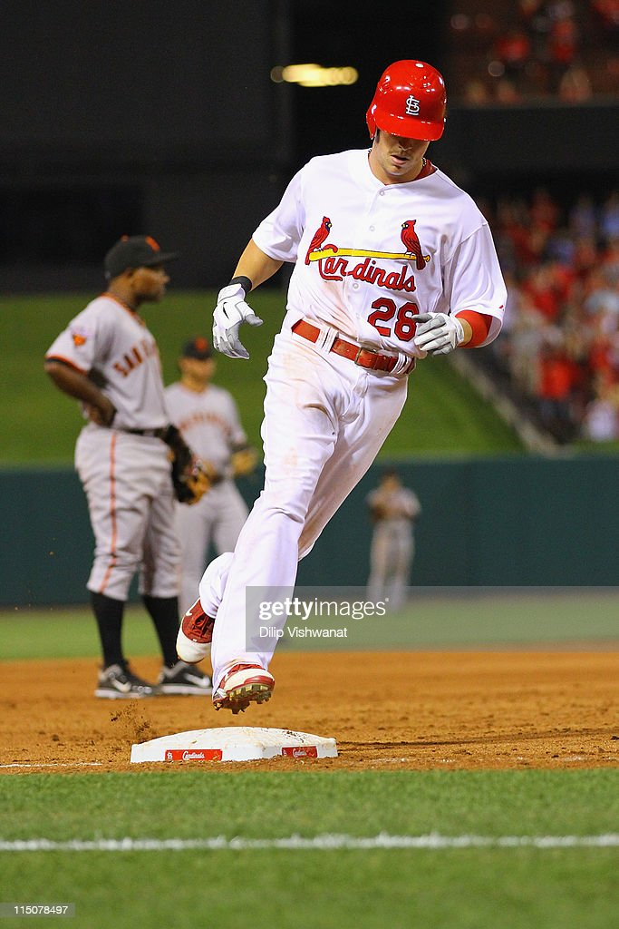 <a gi-track='captionPersonalityLinkClicked' href=/galleries/search?phrase=Colby+Rasmus&family=editorial&specificpeople=3988372 ng-click='$event.stopPropagation()'>Colby Rasmus</a> #28 of the St. Louis Cardinals rounds the bases after hitting a grand slam against the San Francisco Giants at Busch Stadium on June 2, 2011 in St. Louis, Missouri.
