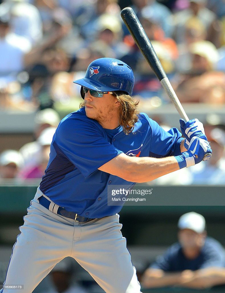 <a gi-track='captionPersonalityLinkClicked' href=/galleries/search?phrase=Colby+Rasmus&family=editorial&specificpeople=3988372 ng-click='$event.stopPropagation()'>Colby Rasmus</a> #28 of the Toronto Blue Jays bats during the spring training game against the Detroit Tigers at Joker Marchant Stadium on March 15, 2013 in Lakeland, Florida. The Tigers defeated the Blue Jays 4-2.