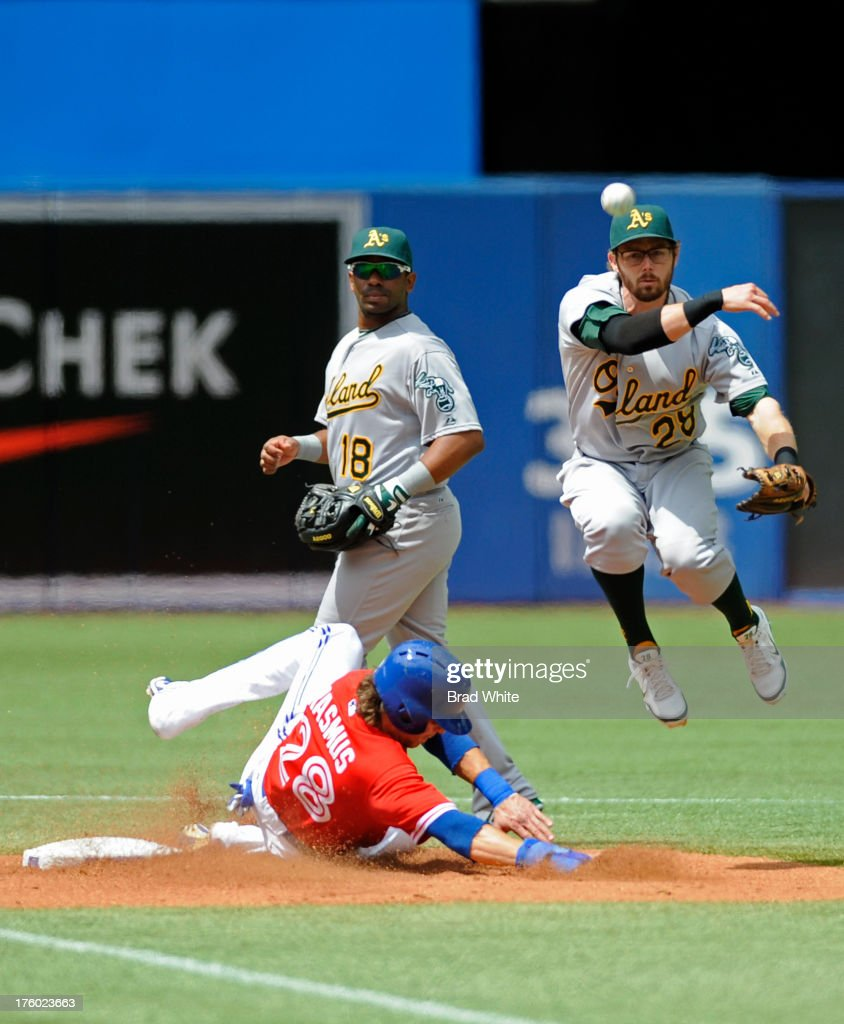<a gi-track='captionPersonalityLinkClicked' href=/galleries/search?phrase=Colby+Rasmus&family=editorial&specificpeople=3988372 ng-click='$event.stopPropagation()'>Colby Rasmus</a> #28 of the Toronto Blue Jays is forced out at second base as <a gi-track='captionPersonalityLinkClicked' href=/galleries/search?phrase=Eric+Sogard&family=editorial&specificpeople=6796459 ng-click='$event.stopPropagation()'>Eric Sogard</a> #28 of the Oakland Athletics throws on to first in the second inning of MLB game action August 11, 2013 at Rogers Centre in Toronto, Ontario, Canada.
