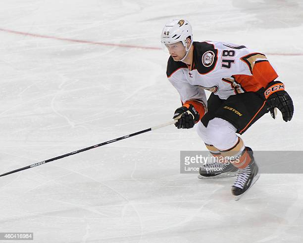 Colby Robak of the Anaheim Ducks follows the play down the ice during second period action against the Winnipeg Jets on December 7 2014 at the MTS...
