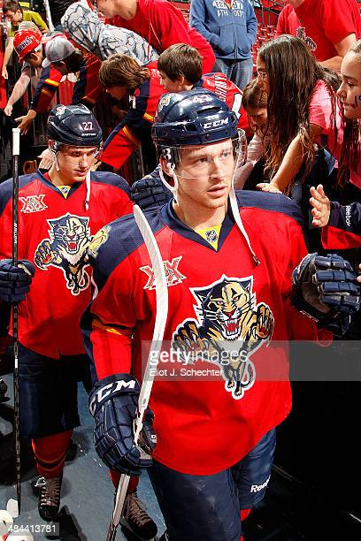 Colby Robak of the Florida Panthers heads out to the ice prior to the start of the game against the Toronto Maple Leafs at the BBT Center on April 10...