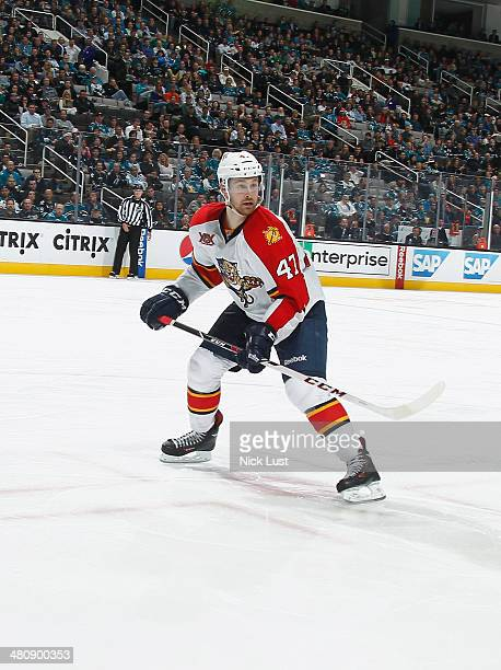 Colby Robak of the Florida Panthers skates after the puck against the San Jose Sharks during an NHL game on March 18 2014 at SAP Center in San Jose...