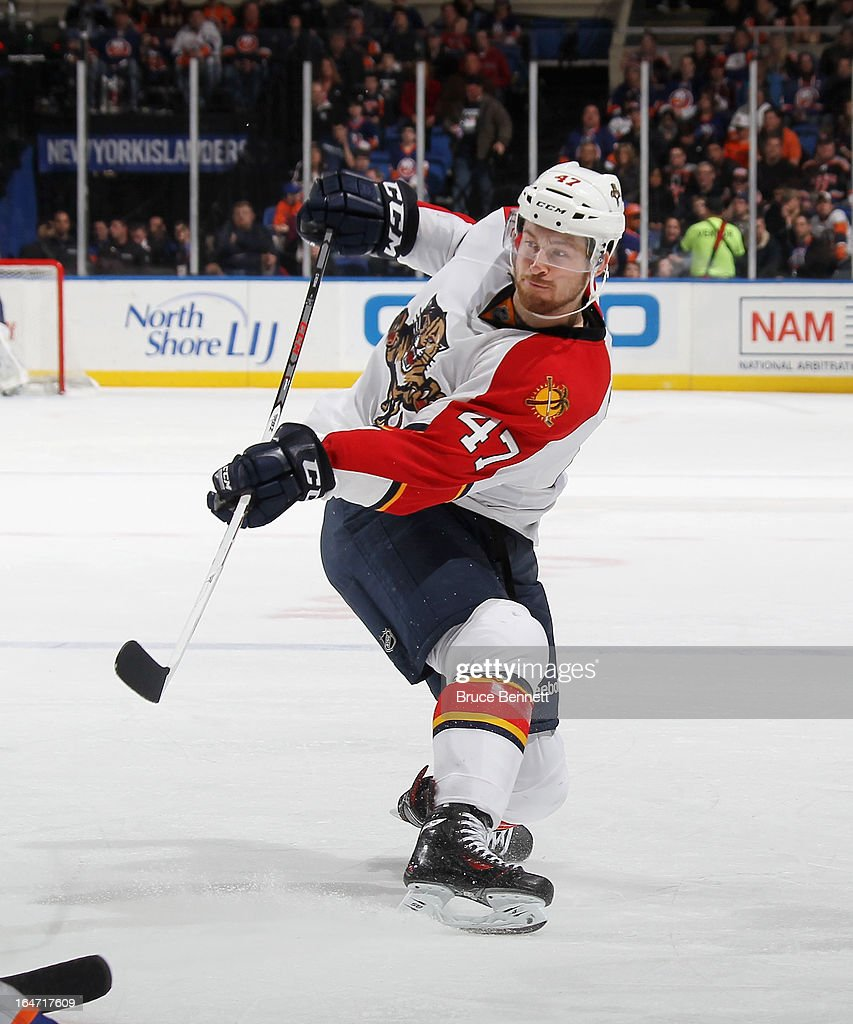 Colby Robak #47 of the Florida Panthers skates against the New York Islanders at the Nassau Veterans Memorial Coliseum on March 24, 2013 in Uniondale, New York.