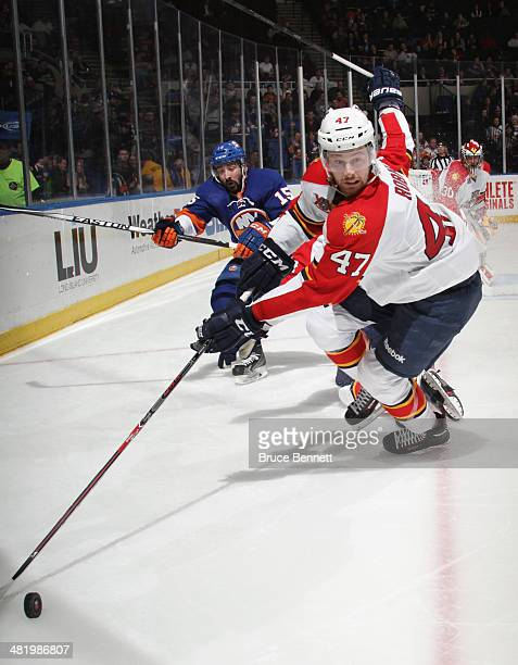 Colby Robak of the Florida Panthers skates against the New York Islanders at the Nassau Veterans Memorial Coliseum on April 1 2014 in Uniondale New...