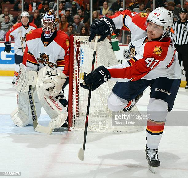 Colby Robak of the Florida Panthers skates during the game against the Anaheim Ducks on November 16 2014 at Honda Center in Anaheim California