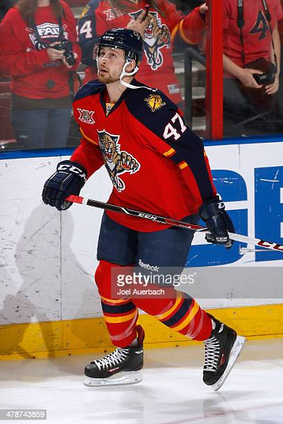 Colby Robak of the Florida Panthers skates prior to the game against the New Jersey Devils at the BBT Center on March 14 2014 in Sunrise Florida