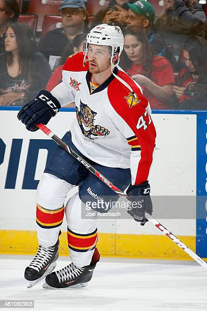 Colby Robak of the Florida Panthers skates prior to the game against the Carolina Hurricanes at the BBT Center on March 27 2014 in Sunrise Florida...