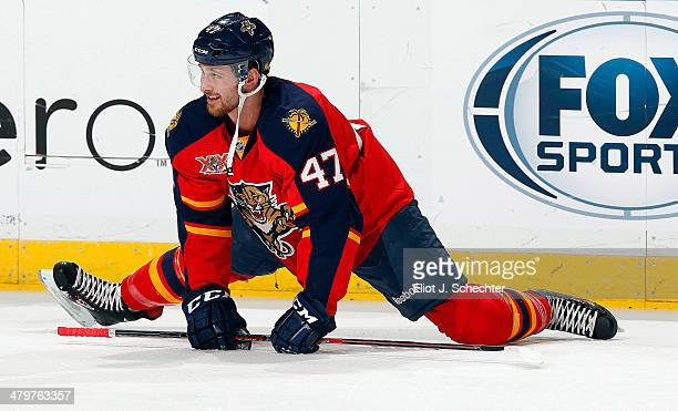 Colby Robak of the Florida Panthers stretches on the ice prior to the start of the game against the New Jersey Devils at the BBT Center on March 14...