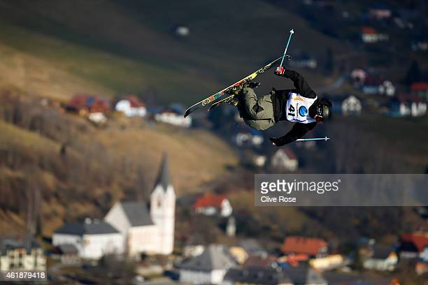Colby Stevenson of USA makes a practice run during the Men's Freestyle Skiing Slopestyle Final of the FIS Freestyle Ski and Snowboard World...