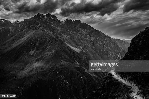 Canyon de Colca noir et blanc, Perù paysage