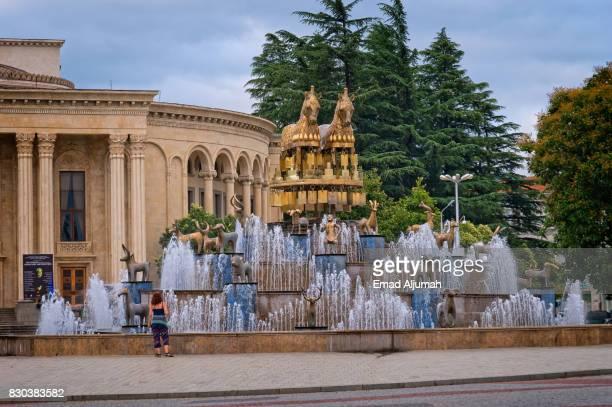 Colchian Fountain in the central square of Kutaisi, Georgia - June 27, 2017