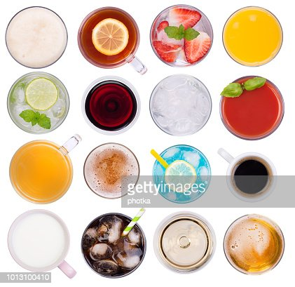 Cold and hot drinks isolated on white background : Stock Photo
