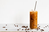 glass of cold brew coffee with milk
