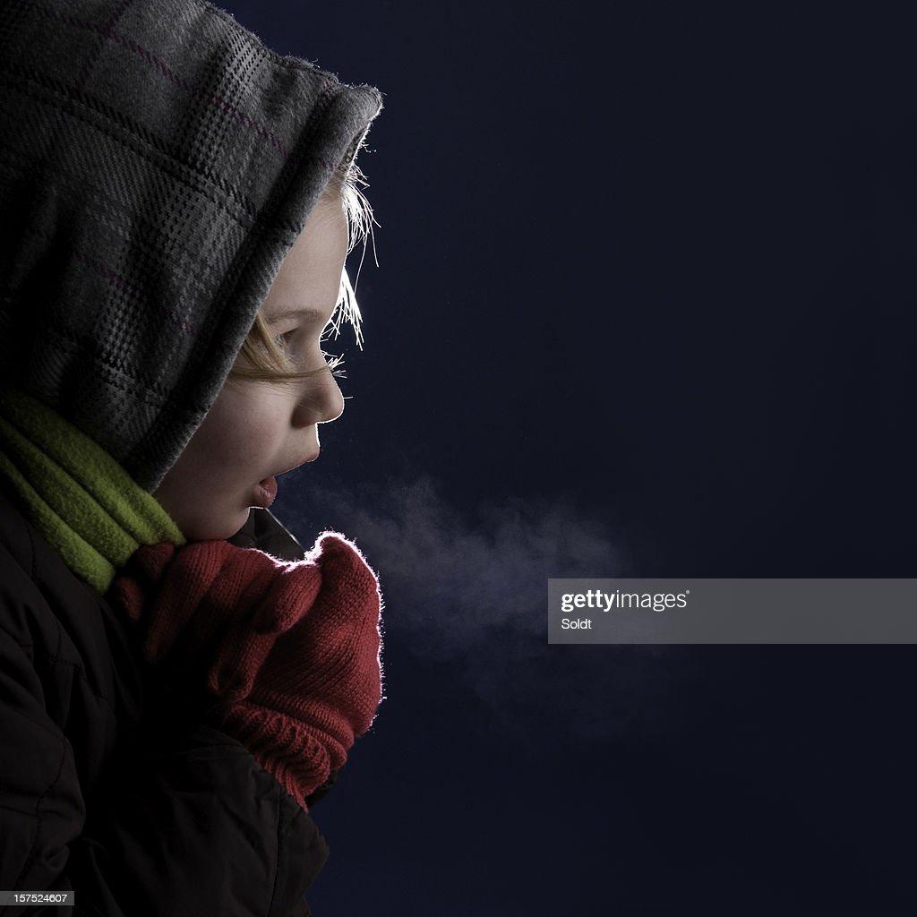 cold chilling girl in the dark