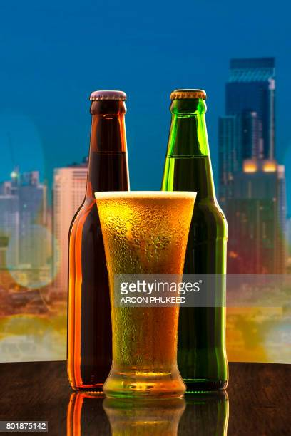 Cold Craft Beer of two bottles and a glass