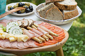 Meat, cheese, olives, bread and other cold cuts