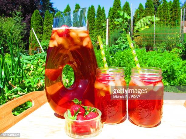 Cold ice tea in a jar