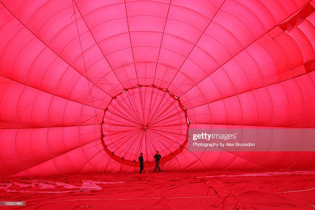 Cold inflation of Hot Air Balloon : Stock Photo