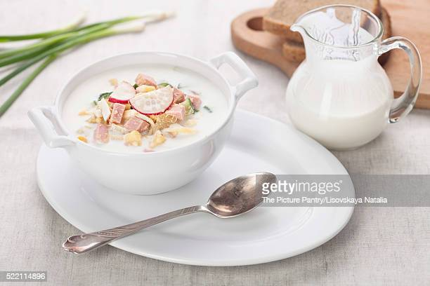Cold kefir soup with eggs and sausage