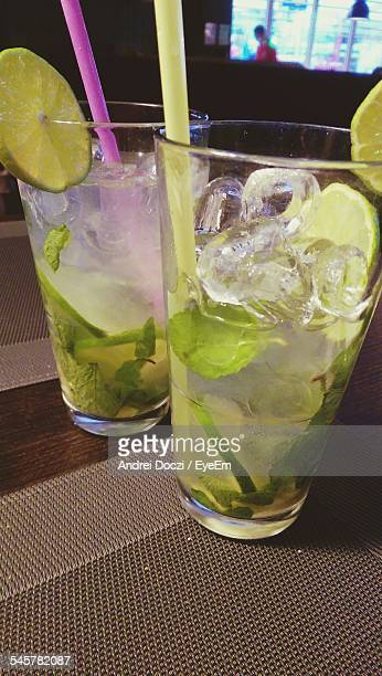 Cold Mojitos On Table In Restaurant