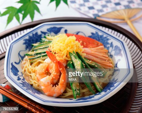 Cold noodle with vegetables : Stock Photo