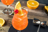 Cold Refreshing Singapore Sling Cocktail with Rum and Pineapple