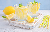 Cold refreshing summer drink with lemon and mint on wooden background, selective focus.