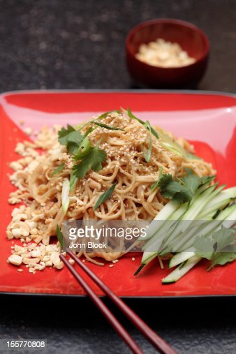 Cold sesame noodles in peanut sauce : Stock Photo