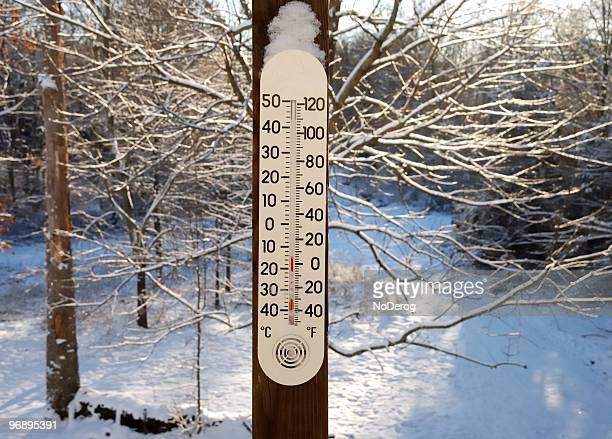 Cold snowy temperature gauge.