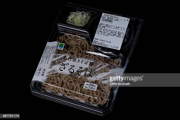 A cold soba noodle box set from a convenience store or 'konbini' is pictured on September 11 2015 in Tokyo Japan Japan's Konbini stores are famous...