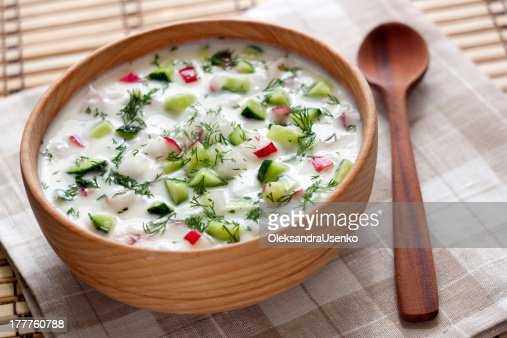 Cold soup with vegetables and dill : Stock Photo