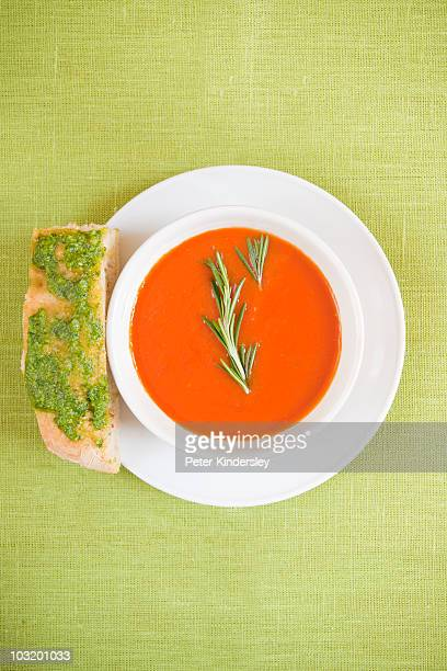 Cold tomato and chilli soup with rosemanry on top